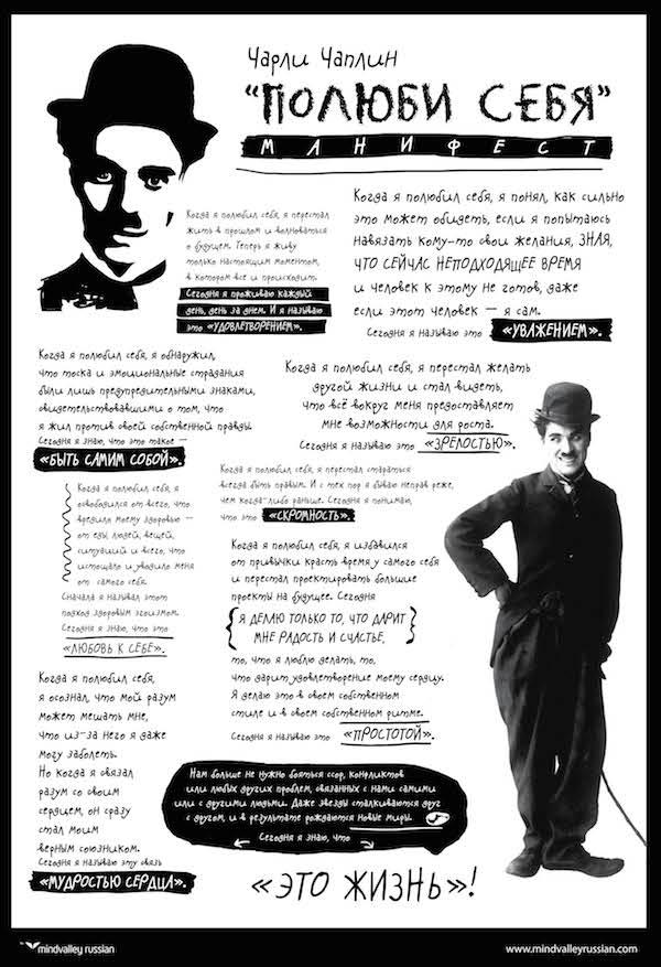 Чарли Чаплин. Манифест «Полюби себя»